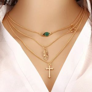 New! Multilayered Women's Necklace Gold